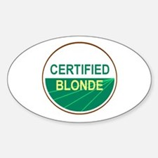 CERTIFIED BLONDE Oval Decal