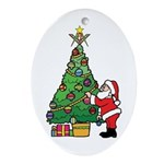 Santa and our star Ornament (Oval)