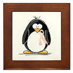 Peach Ribbon Penguins Framed Tile