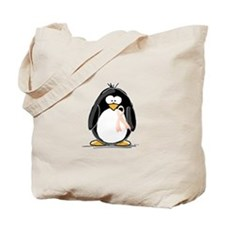 Peach Ribbon Penguins Tote Bag