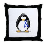 Blue Ribbon Penguin Throw Pillow