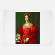 A Young Woman and Her Boy by Agnolo 5'x7'Area Rug