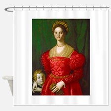 A Young Woman and Her Boy by Agnolo Shower Curtain