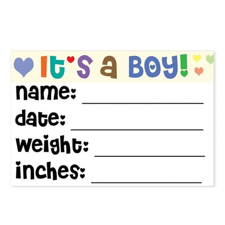 Birth Announcement Boy Postcards (Package of 8)