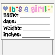 Birth Announcement Girl Yard Sign