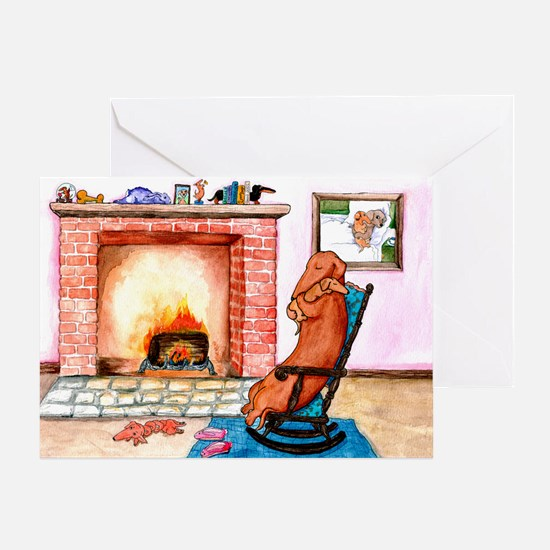 Snuggling Dachshunds Christmas Card
