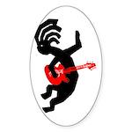 Kokopelli Guitar Oval Sticker