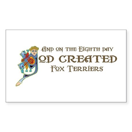 God Created Foxies Rectangle Sticker