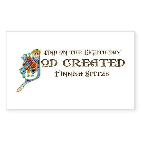 God Created Spitzs Rectangle Sticker