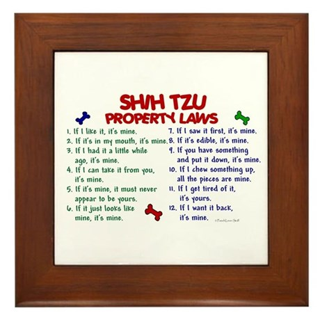 Shih Tzu Property Laws 2 Framed Tile