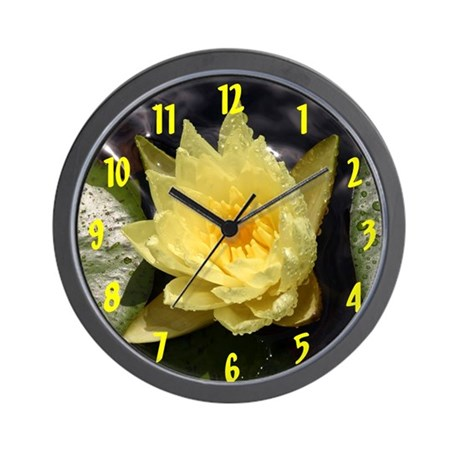 Yellow Water Lily Wall Clock