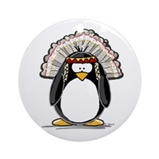 Native American Chief Penguin Ornament (Round)