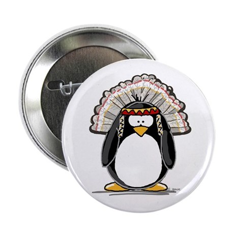 "Native American Chief Penguin 2.25"" Button (10 pac"