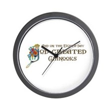God Created Chinooks Wall Clock