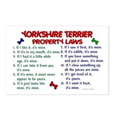 Yorkshire Terrier Property Laws 2 Postcards (Packa