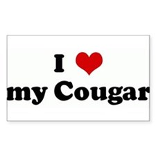 I Love my Cougar Rectangle Decal