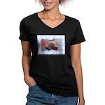 HAPPY HOLIDAYS Women's V-Neck Dark T-Shirt