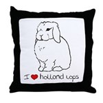 I Love Holland Lop Rabbits Throw Pillow