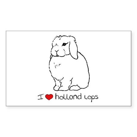 I Love Holland Lop Rabbits Rectangle