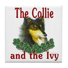 Tri Color Collie & Ivy Tile Coaster