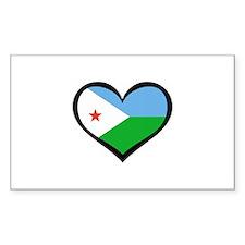 Djibouti Love Rectangle Decal