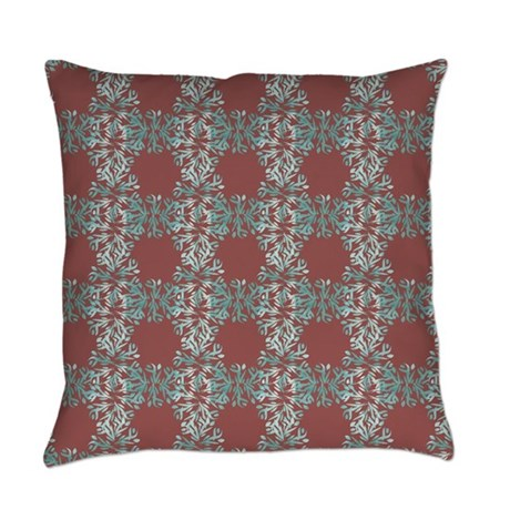 Abstract Blue Leaves & Marsala Everyday Pillow