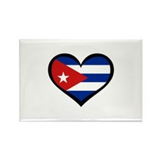 Cuba Love Heart Rectangle Magnet
