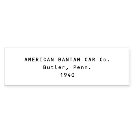 American Bantam Car Co. Bumper Sticker