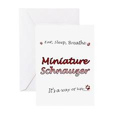 Mini Schnauzer Breathe Greeting Card