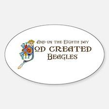 God Created Beagles Oval Decal