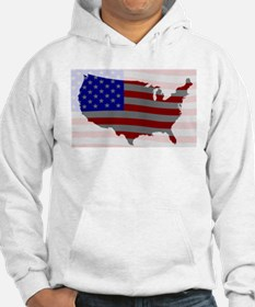 USA Map Silhouette And Flag Hoodie