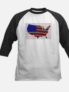 USA Map Silhouette And Flag Baseball Jersey
