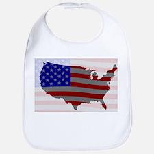 USA Map Silhouette And Flag Bib