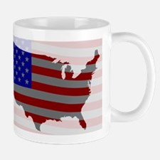 USA Map Silhouette And Flag Mugs