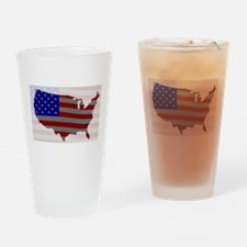USA Map Silhouette And Flag Drinking Glass