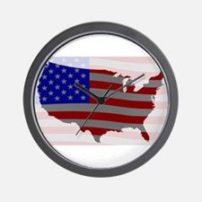 USA Map Silhouette And Flag Wall Clock