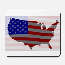 USA Map Silhouette And Flag Mousepad