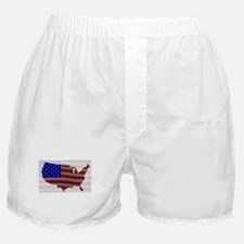 USA Map Silhouette And Flag Boxer Shorts