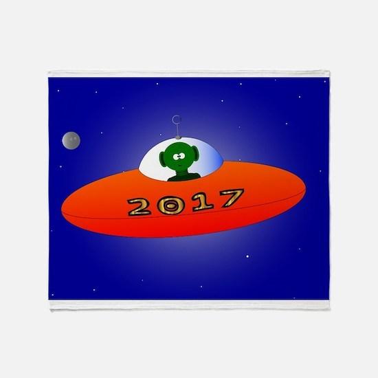 Happy New Year 2017 Alien Throw Blanket