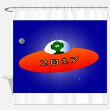 Happy New Year 2017 Alien Shower Curtain