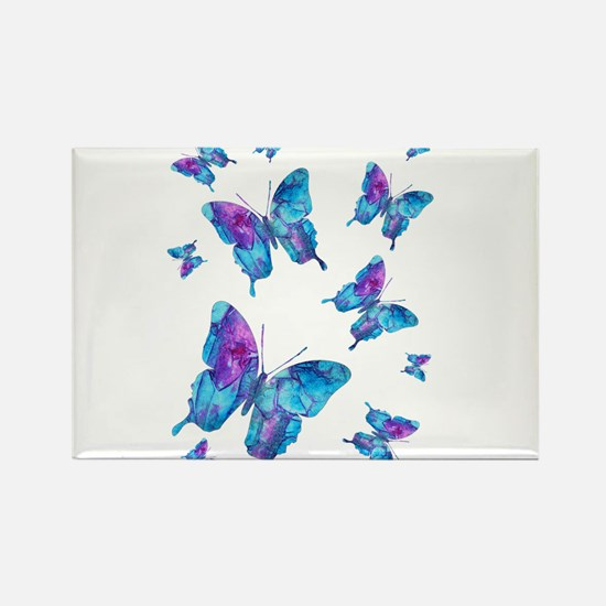 Electric Blue Butterfly Flurry Magnets