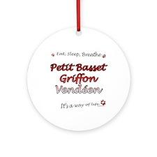 PBGV Breathe Ornament (Round)
