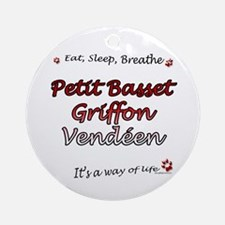 PBGV Breathe Ornament (Round)