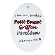 PBGV Breathe Oval Ornament