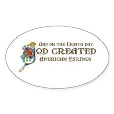 God Created Eskimos Oval Decal