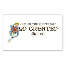God Created Akitas Rectangle Decal