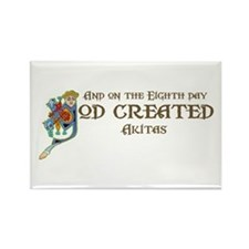 God Created Akitas Rectangle Magnet (10 pack)