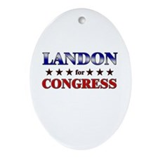 LANDON for congress Oval Ornament