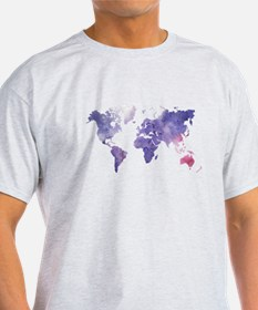 Purple Watercolor World Map T-Shirt
