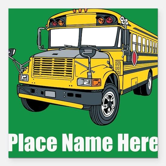 """School Bus Square Car Magnet 3"""" x 3"""""""